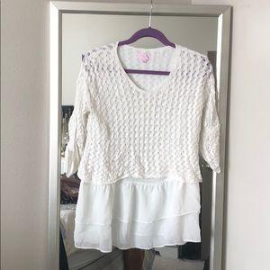 Loose knit sweater with chiffon layer
